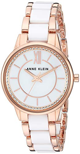 Anne Klein Women's AK/3344WTRG Swarovski Crystal Accented Rose Gold-Tone and White Ceramic Bracelet Watch