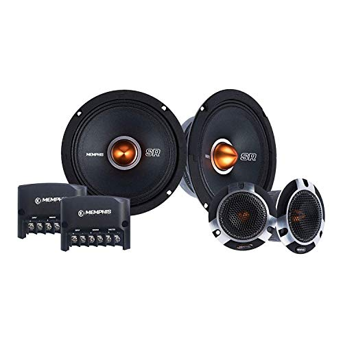 Memphis Audio SRXP62C 6.5 Inch 250 Watt Pro Car Audio Component Set with Mid Bass Driver Speakers, Tweeters and Crossovers for Stereo Sound System
