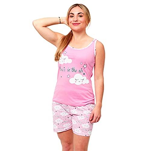 FLASHPIJAMAS Main Pijama Mujer Estampado Pijama Dos Piezas Pijama Camiseta Tirantes y pantalón Corto Pijama algodón de Verano.