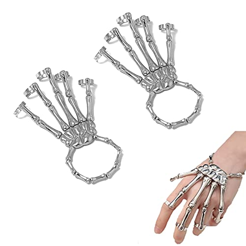 2 unids Deathbringer Pulsera, Pulsera de la junta de los huesos del dedo Joyas, Punk Hecho a mano Halloween Pulsera Skull Fingers Metal Skeleton Pulsera de mano con anillo para mujeres niñas
