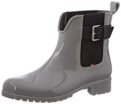 Tommy Hilfiger Damen COOL Tommy Ribbon Rainboot Gummistiefel, Grau (Diamond Grey 001), 37 EU