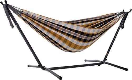 Photo of Vivere Double Cotton Hammock with Space-Saving Steel Stand, Gold Coast