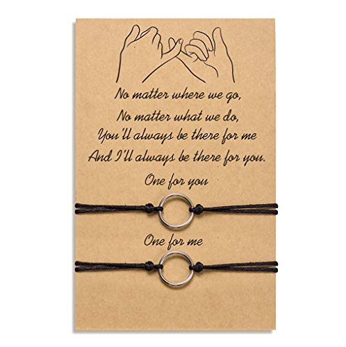 Tarsus Distance Bracelets for Best Friend Couples Friendship Bracelet Adjustable Handmade Cord Relationship Bracelets for 2, Pinky Promise for Him and Her, Girlfriend Boyfriend