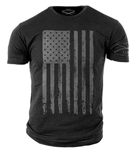 Grunt Style America Patriotic Flag Men's Shirt, Color Grey, Size S