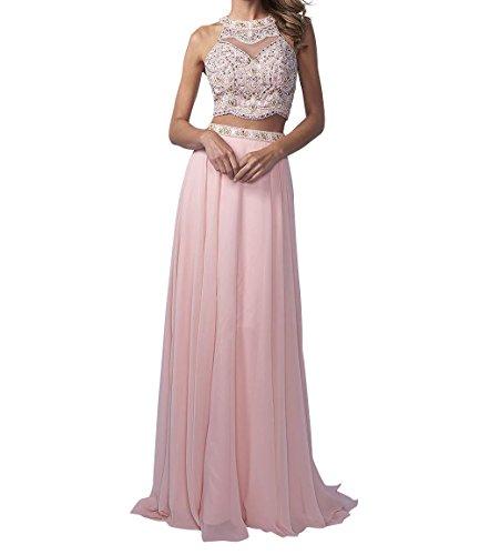 La_Marie Braut Langes Zwei-teilig Perlen Abendkleider Promkleider Partykleider Chiffon A-Linie Rock-32 Rosa
