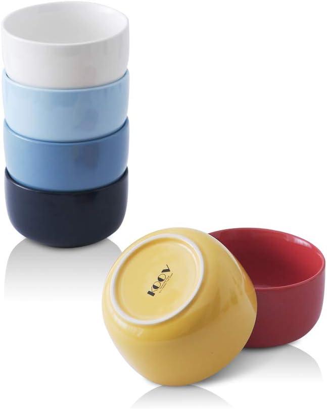 KOOV Porcelain 18 OZ Cereal Bowl Set, Ceramic Bowl As Rice Bowl, Soup Bowl, Microwave Safe Bowls For Oatmeal, Chip, Minimalism Series Set of 6 (Rainbow)