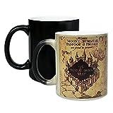 11 oz Harr_y_Po_tter Magic Heat Sensitive Mug Ceramic Marauders map Color Changing Coffee Tea Mug Birthday Gifts for Boys or Girls Movie Fans (Black)