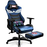 Marvel Avengers Massage Gaming Chair Desk Office Computer Racing Chairs-Adults Gamer Ergonomic Game Footrest Reclining High Back Support Racer Leather Foot Rest