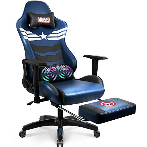 Marvel Avengers Massage Gaming Chair Desk Office Computer Racing Chairs-Adults Gamer Ergonomic Game Footrest Reclining High Back Support Racer Leather Foot Rest (Captain America)