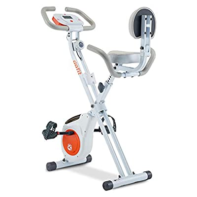 DPFIT Foldable Stationary Exercise Bike with 8-levels Magnetic Resistance, Upright Folding Indoor Bike with Arm Rest , Adjustable Seat,Tablet Holder and LCD Monitor for Home Workout, White