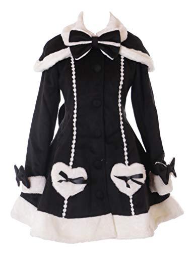 JL-902 Schwarz Schleife Damen Winter Mantel Jacke mit Cape Victorian Klassisch Gothic Lolita Kostüm Cosplay (S)