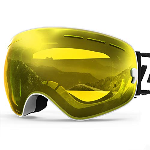 ZIONOR X Ski Snowboard Snow Goggles OTG Design for Men Women Adult with Spherical Detachable Lens UV Protection Anti-Fog (VLT 89% White Frame Yellow Lens)