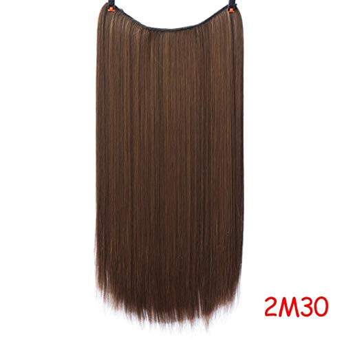 PINGS Invisible Wire No Clips in Fish Line Hair Extensions Blonde Straight Wavy Long Hair Resistant Resistant Synthetic Hairpiece, YX01-2M30,22inches