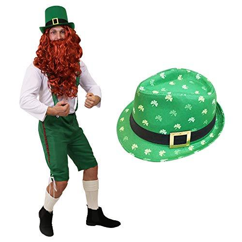 Disfraz DE Duende IRLANDES Conjunto para Adultos TEMATICO DE FATO con Sombrero con Impression DE TREBOL Verde Dia DE San Patricio (XXL)
