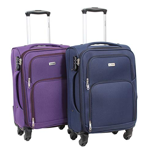 Alistair C-Lite - Set of 2 Cabin Luggage Bags - 57 cm - Lightweight and Durable Nylon Canvas - 4 Wheels - French Brand Multicolour Violet-bleu S
