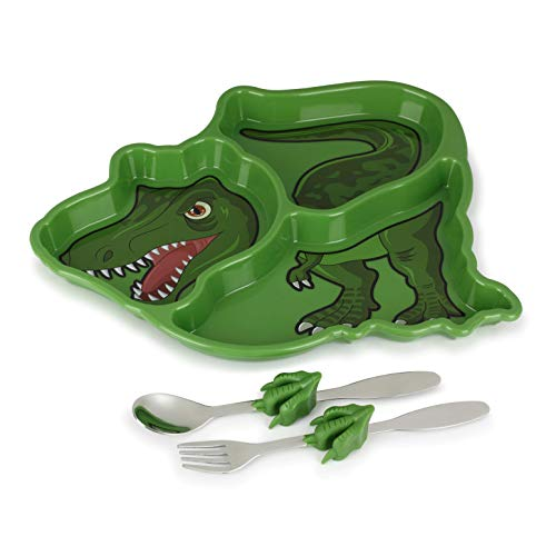 KidsFunwares T-Rex Dinosaur Me Time Meal Set, Portion Control Divided Plate with Fork and Spoon for Kids