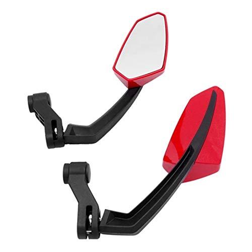 1 Set Motocicleta Espejo Scooter e-Bicicleta retrovisor Espejos electrómbile Reverso Lateral Convexo Espejo 8 mm 10 mm Fibra de Carbono (Color : Red)