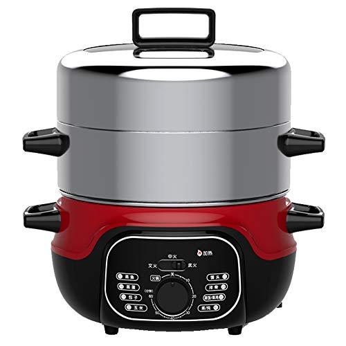 2-Lagen-Dampfgarer aus Edelstahl, 1360 W, 2 Lagen, 14 Liter Fassungsvermögen, Gemüsedampfer zum Selbstkochen - für gesunde Mahlzeiten, Reis, Fleisch, Eier, Gemüse