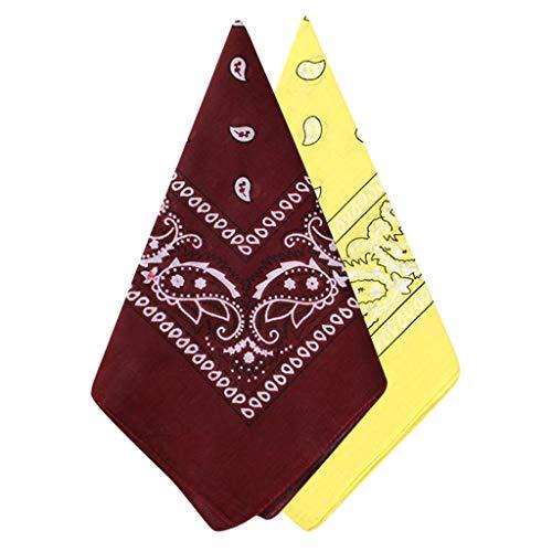 MOTOCO 2 Stück Bandana Halstuch Paisley Bindetuch Haar Schal Ansatz Handgelenk Verpackungs Band Kopftuch Unisex Mode-Accessoires(54X54CM.Wein-Gelb)