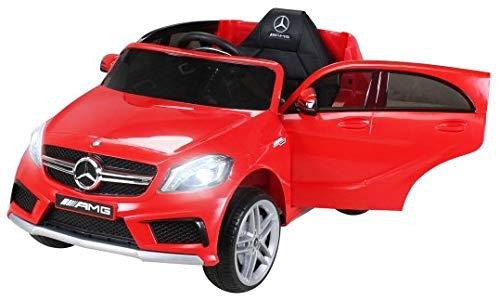 Kinder Elektroauto Mercedes Benz AMG A45 - Lizenziert - 2 x 45 Watt Motor - Ledersitz - Rc 2,4 Ghz Fernbedienung - Usb - FM Radio - Sd Karte - Elektro Auto für Kinder ab 3 Jahre (Rot)*