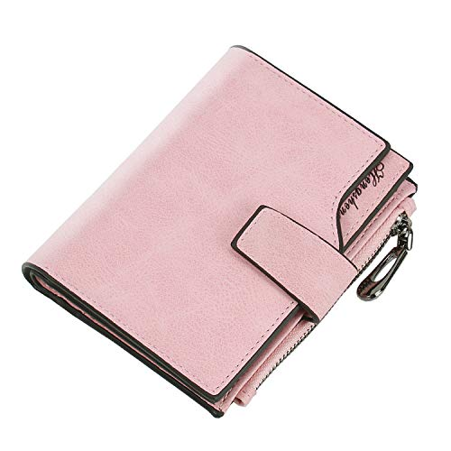 Soluo Women's RFID Small Bifold Wallet Ladies Mini Zipper Coin Purse Pocket Wallet Card Case Small Compact Zipper -  Light Pink -  One Size