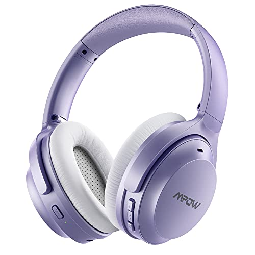 Mpow H12 Hybrid Active Noise Cancelling Bluetooth Headphones, [Upgraded] Wireless Headphones Over Ear with Hi-Fi Deep Bass, CVC 6.0 Microphone, Soft Protein Earpads, 30H Playtime for TV Travel Work