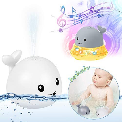 O-Kinee Juguetes de Baño para Bebés, Rociador de Ballena de Inducción Automática Juguetes Divertidos, Juguete de Agua, Juguete Sensorial de Rociado de Agua 2 en 1, Juguete de Fuente Musical (Blanco)
