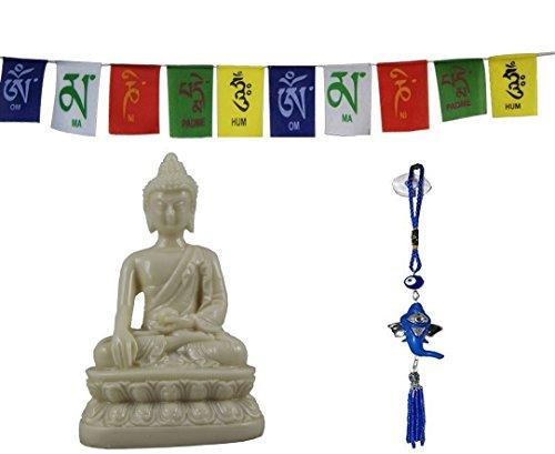 Odishabazaar Gautam Buddha Idol for car Dashboard Pooja puja, Statues for Decoration + Ganesha Hanging