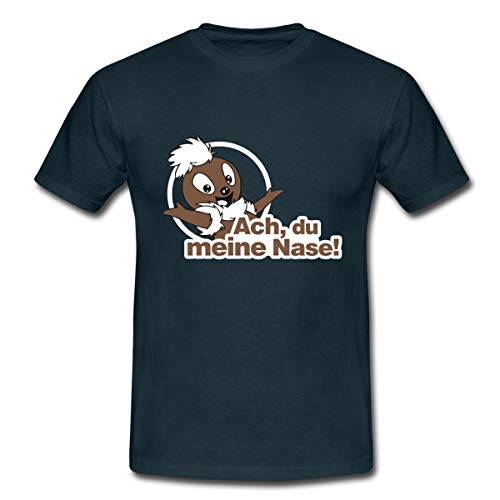 Sandmännchen Pittiplatsch ACH Du Meine Nase Männer T-Shirt, L, Navy