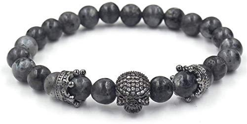 FLYAND Mujer Pulsera de Piedra, 7 Chakra Perlas de mármol Natural elástico Negro gótico gótico Grande joyería de cráneo Reza Yoga energía Reiki Encanto joyería Regalo para Hombres