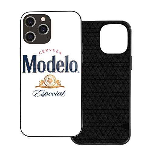 5husihai Modelo Beer Logo Compatible iPhone 12 Case,Ultra-Thin Tempered Glass Pattern Painted Back Cover + Soft TPU Bumper Frame Iphone12-6.1