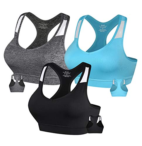 Women's Sports Bras Racerback Activewear Bra with Removable Pads Medium Impact Gym Bra for Yoga Workout Fitness Black Grey Blue Small