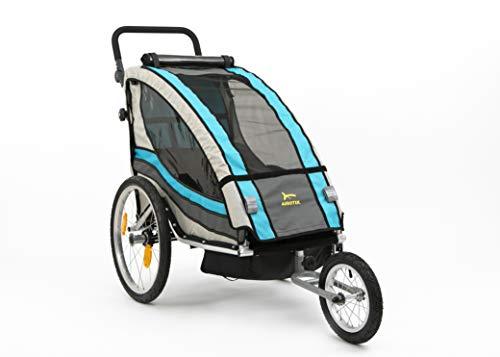 Aurotek Yogui kinderfietsaanhanger van aluminium met vering, gemakkelijk om te zetten in een kinderwagen, met voetbalset, stang inbegrepen. Premium kwaliteit, baby's, unisex, blauw, medium.