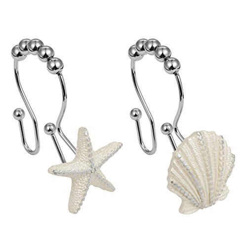 Cyrra Stainless Steel Rust Resistant Double Hooks Glide Shower Ring Hangs For Both Shower Curtain and Liner 12-Pack (starfish and shell double hook)