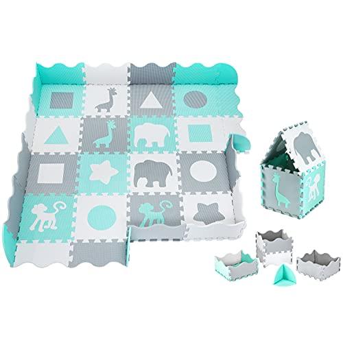 Moby-System Puzzlematte für Babys, 150 x 150 cm, Spielmatte, geruchlos, Matte große, Puzzle Matte für Jungen & Mädchen, Spielmatte schadstofffreie, geruchlose Krabbelmatte