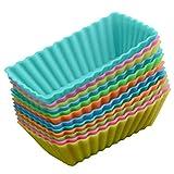 BESTonZON Pirottini per muffin in silicone rettangolari, stampini per cupcake, riutilizzabili, 8 pezzi