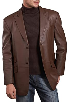 BGSD Men's Noah 2-Button Lambskin Leather Blazer Espresso X-Large Tall by