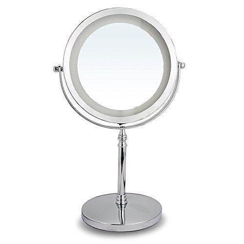 Espejo de Mesa, Espejo Maquillaje con Luz LED Espejo Aumento 10X, Espejo...