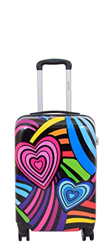 Cabin Size Hand Luggage Hearts Print 4 Wheel Multicolour Suitcase Hard Shell Travel Bag Trova