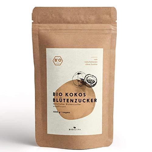 BioNutra® Sucre de fleur de noix de coco bio | Agriculture biologique | 1500 g | Sucre de coco | Non raffiné