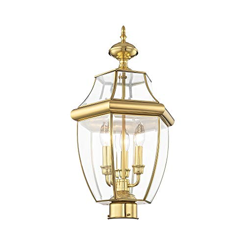 Livex Lighting 2354-02 Monterey 3 Light Outdoor Polished Brass Finish Solid Brass Post Head with Clear Beveled Glass