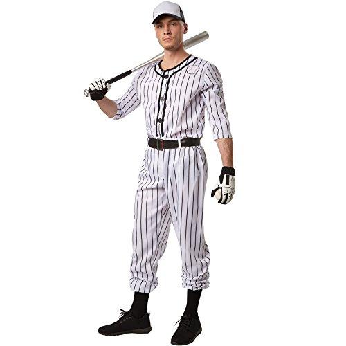 dressforfun Disfraz para hombre Béisbol | Parte superior de manga larga a rayas | Pantalones largos a rayas | Incl. cinturón y un par de calcetines (S | No. 301809)