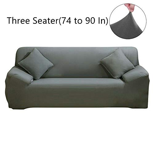 TongBF Stretch Elastic Fabric Sofa Cover Sectional Corner Couch Covers for 1/2/3/4 Seats, Chair, Loveseat, Sofa and L Shape, with Free Pillowcase as Gift (Gray, 3 Seater(190-230cm))