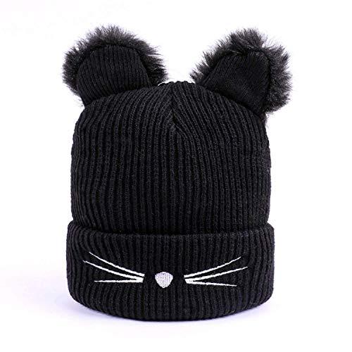 Damen Mütze Beanie Wintermütze mit Katzenohren Wintermütze warme Strickmütze Elastisches Hüte für Frauen Mädchen