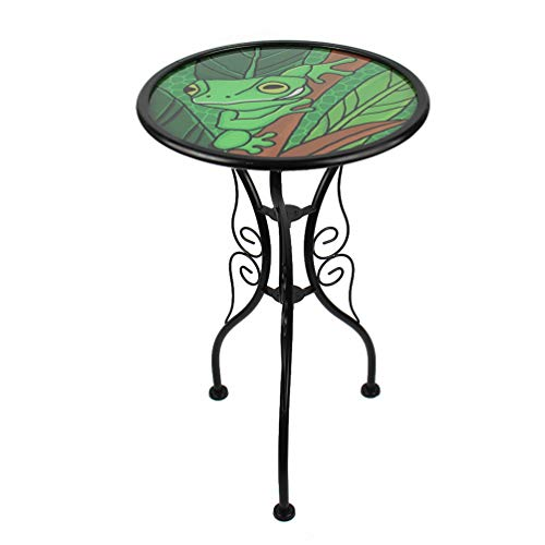 HONGLAND Butterfly Outdoor Side Table Accent Round Painted Glass Desk for Garden,Patio, Dining Room 14 Inches (Butterfly)
