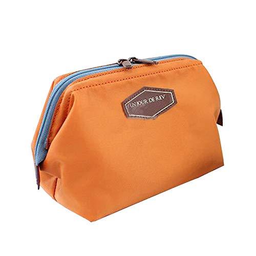 Moda Belleza Linda Mujer Dama Viaje Bolsa de Maquillaje Cosméticos Bolso de embrague Bolso Casual Bolso para las mujeres Bolsas de aseo (Color : Orange)