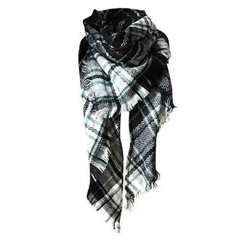 Vovotrade dames sjaal wintersjaal plafondsjaal geruit dubbele sjaal herfstsjaal wolsjaal vrouwen dekensjaal halsdoek scarf poncho cape kerstgeschenk nieuwjaarscadeau Eén maat F
