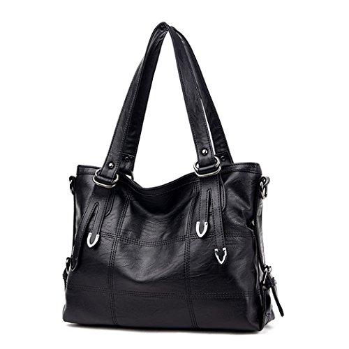 DEERWORD Damen Taschen Handtaschen Elegant Frau Schultertaschen Lack PU-Leder Henkeltaschen Schwarz