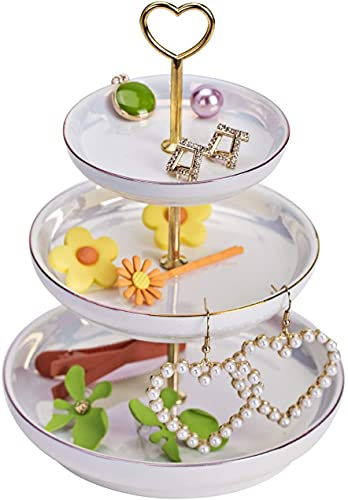 Recet Plato para joyas, 3 capas de regalo para mujer, de cerámica, bandeja pequeña para joyas, para anillos, pendientes, etc. (blanco perla).