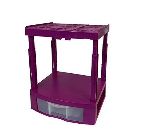 Tools for School Locker Drawer and Height Adjustable Shelf. Includes 2 Removable Drawer Dividers. Heavy Duty. Fits 12 Inch Wide Locker (Magenta, Single Drawer)